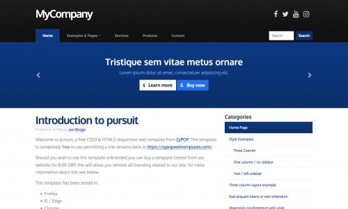 pursuit Free web template