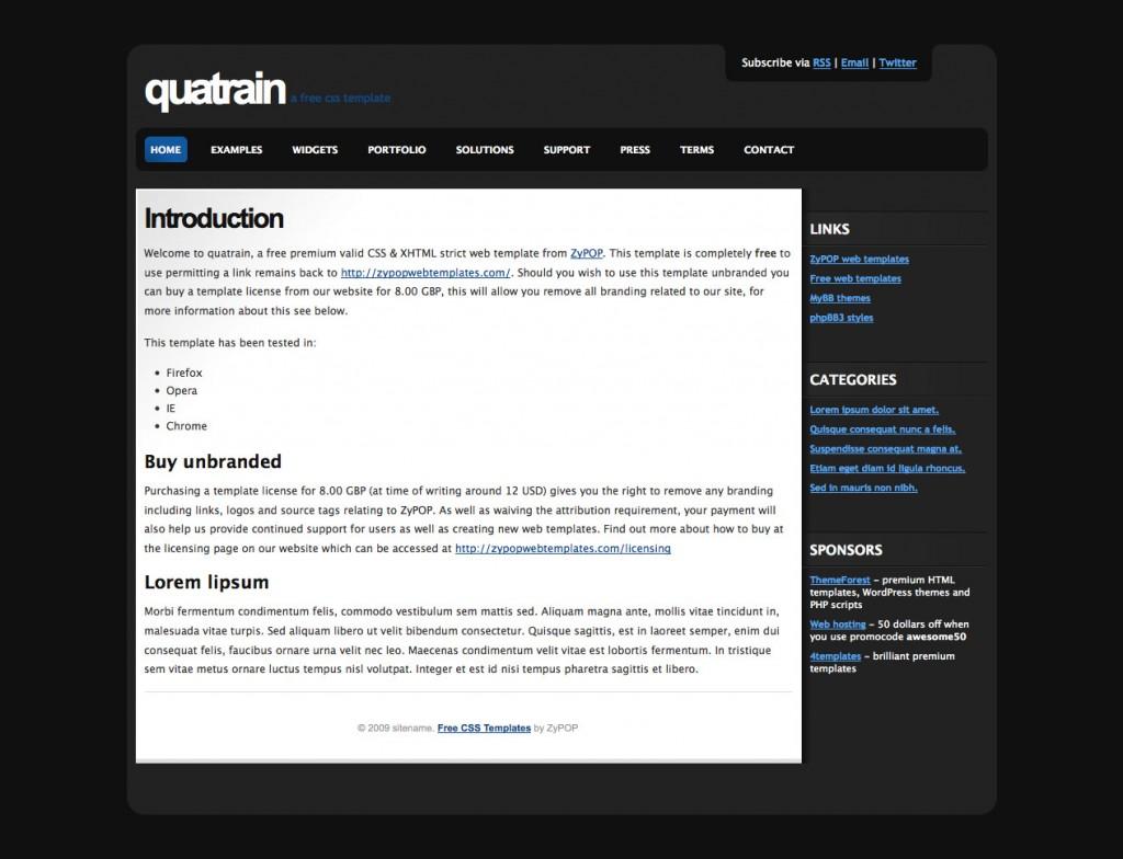 quatrain - a free css template by ZyPOP
