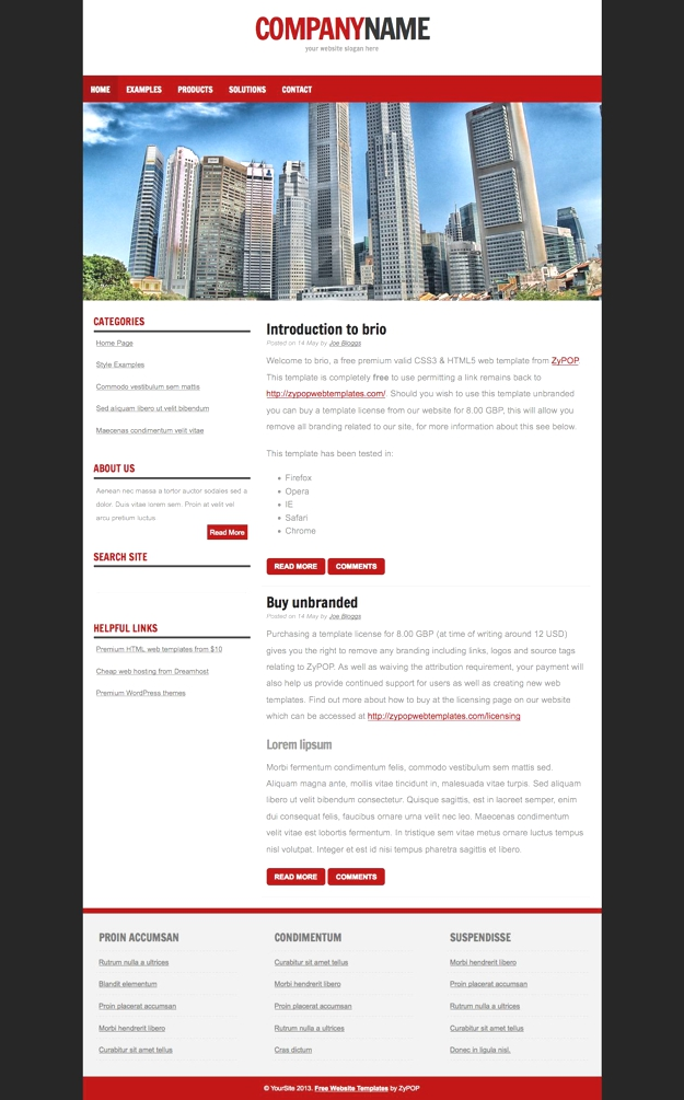 brio - Free CSS Template by ZyPOP