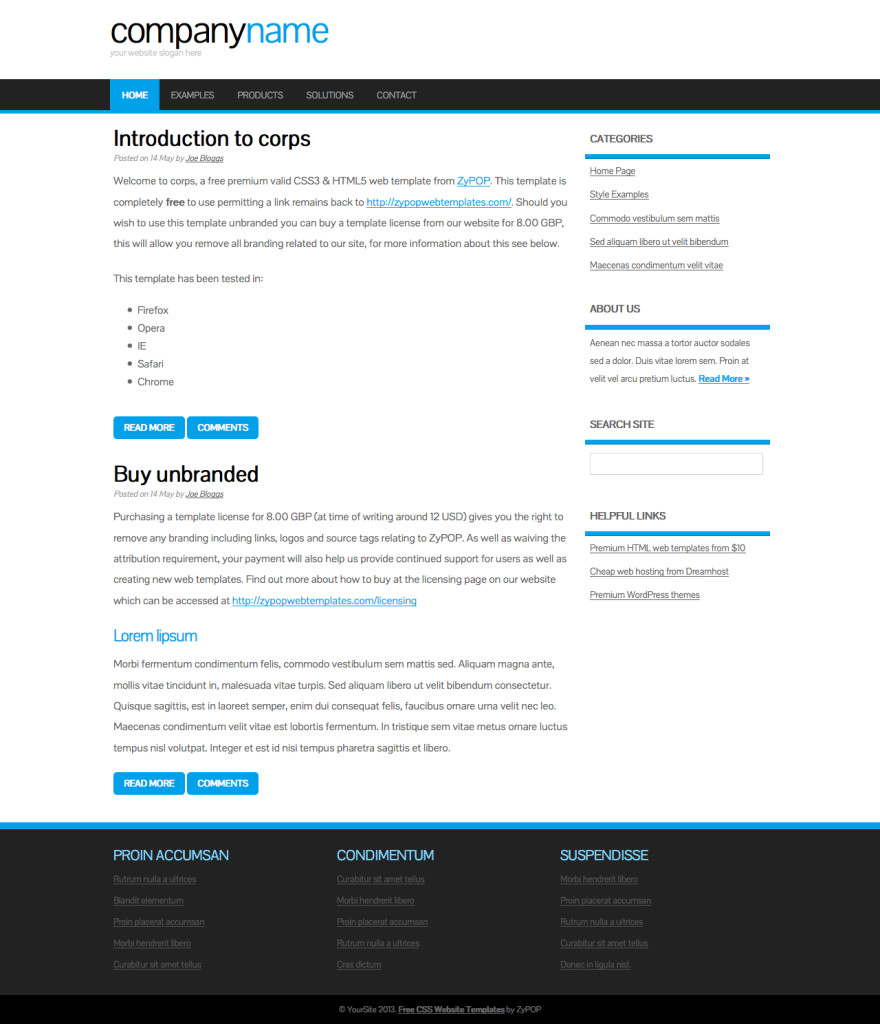 corps html and css business web template web corps css template by zypop