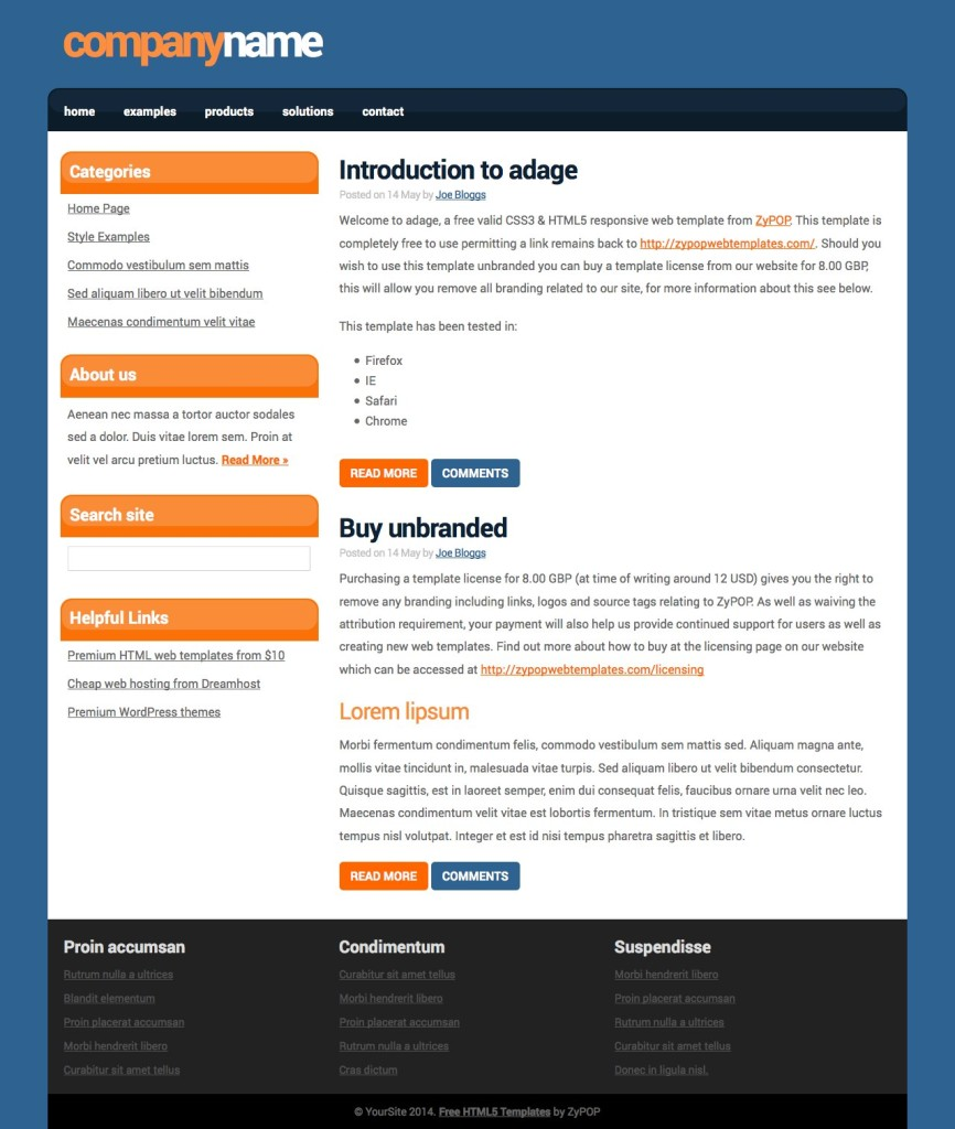 adage - Free CSS Template by ZyPOP