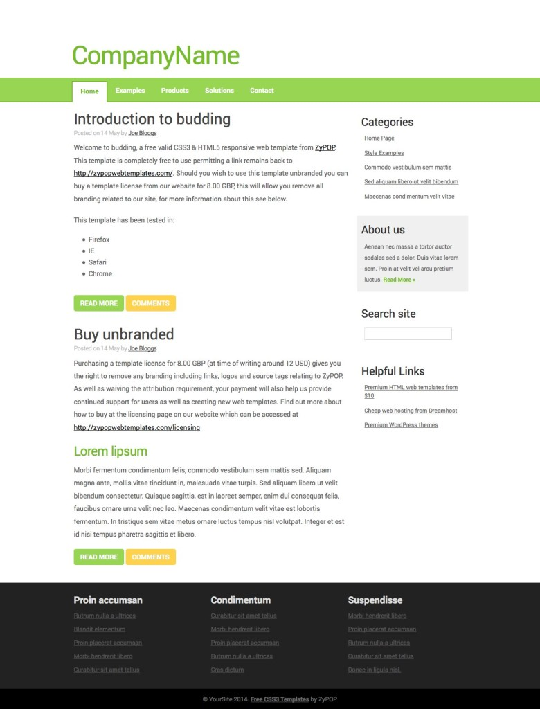 budding - Free CSS Template by ZyPOP