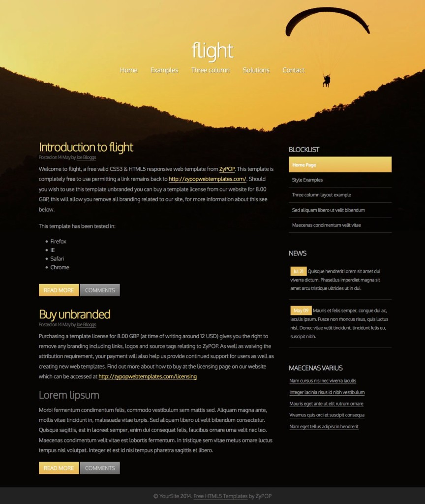 flight - Free CSS Template by ZyPOP
