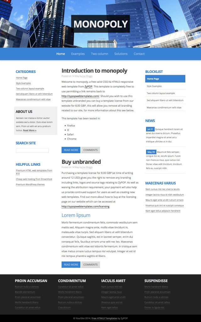 monopoly - Free CSS Template by ZyPOP