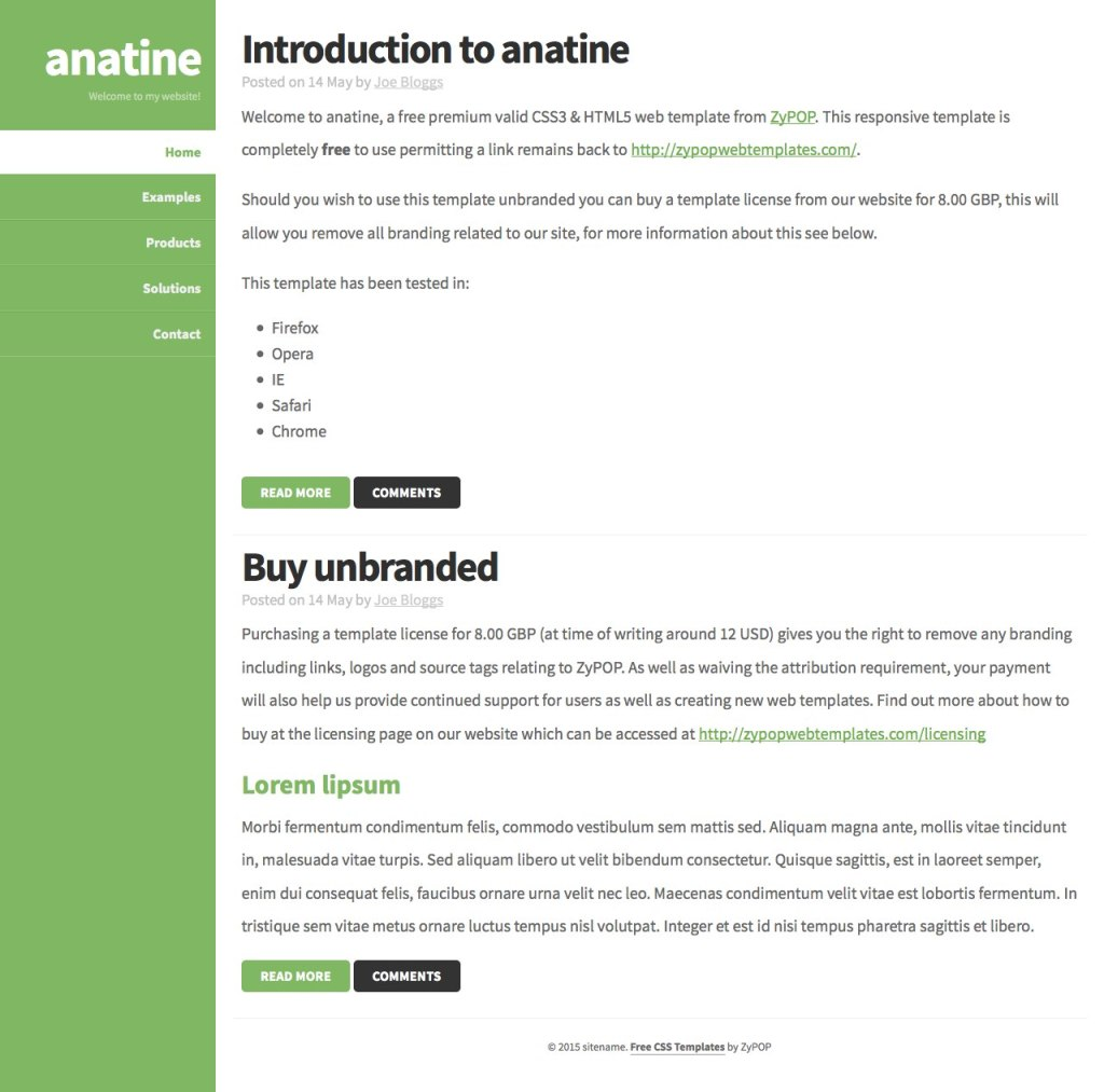 anatine - a free css template